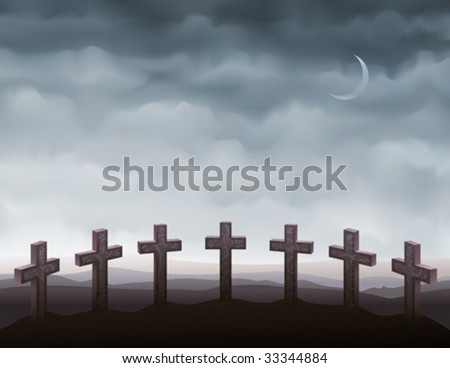 Seven gravestones forming a semi-circle (other landscapes are in my gallery) - stock vector