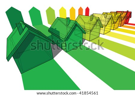 seven houses certified in seven energetic - stock vector