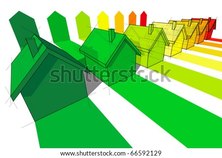 seven houses certified in seven energetic classes - stock vector