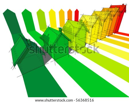 seven houses certified in seven energetic classes (also available as bitmap) - stock vector