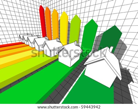 seven houses certified in seven energetic classes in a business diagram  (also available as bitmap) - stock vector