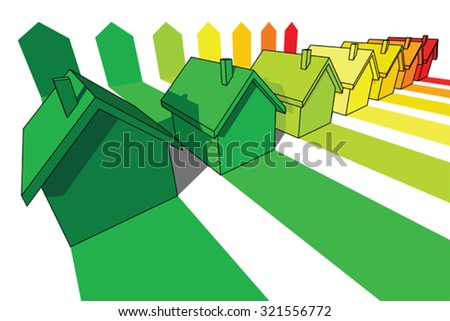 seven houses certified in seven energy classes  - stock vector