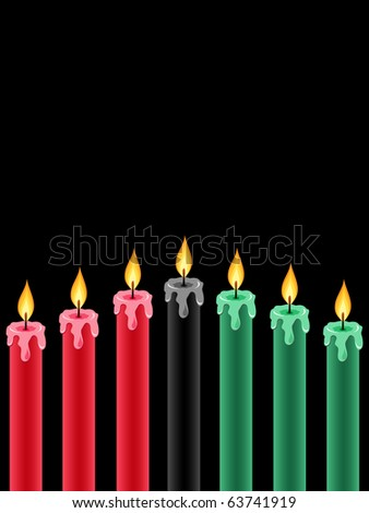 seven kwanzaa candles lightning on the black background - stock vector