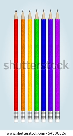 Seven multicolored vector pencils