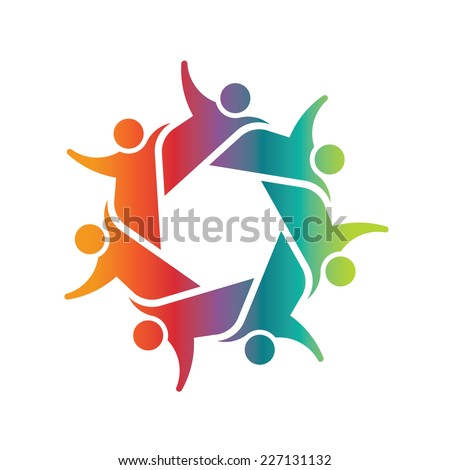 Seven people holding each other in circle. Concept of teamwork, group and friendship. Vector design icon - stock vector