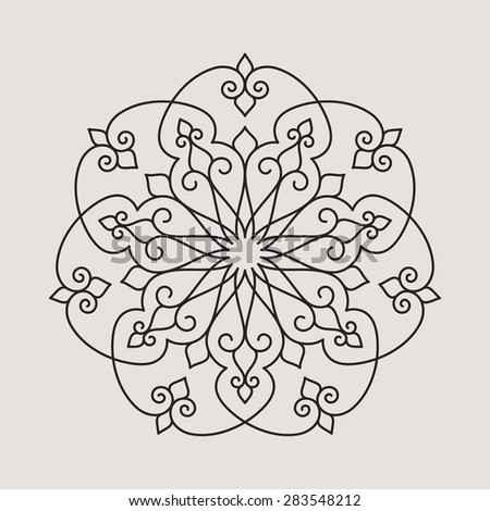 Seven pointed circular pattern. Mandala. Round linear vector ornament on light background. - stock vector