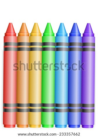 seven rainbow color crayons on white background - stock vector