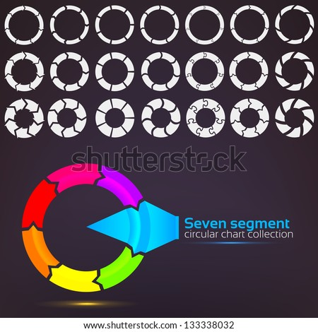 Seven segment graph circular charts clip art set, in seven template design variations and three variations of thickness - stock vector