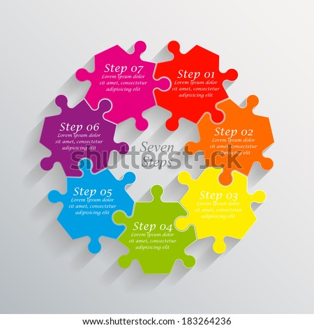 Seven sided 3d puzzle presentation infographic template with explanatory text field for business statistics - stock vector