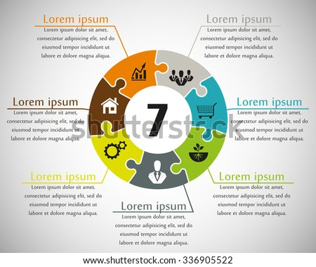 Seven sided puzzle presentation infographic template with explanatory text field for business statistics - stock vector
