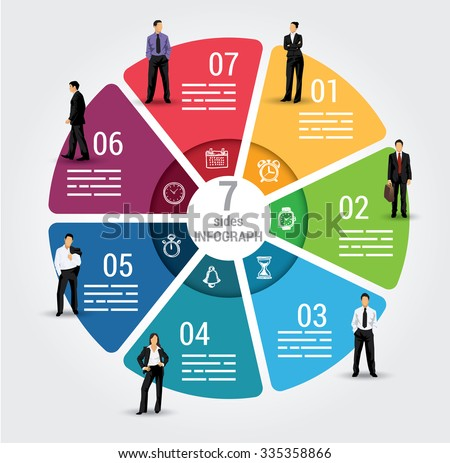 Seven sides infographic template, a vector chart with 7 options used for web, banners, reports, presentation and brochures. - stock vector