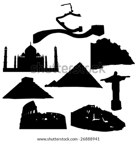 Seven Wonders of the New World - stock vector