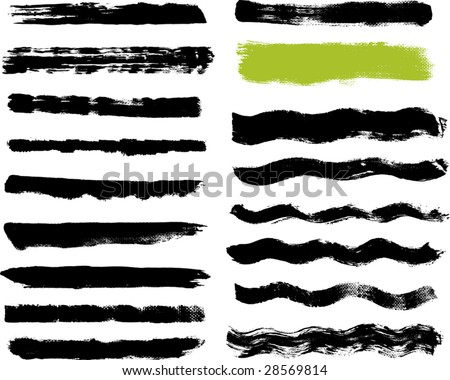 Seventeen real paint brush strokes on canvas. Each vector brush stroke grouped for easy use and separation. - stock vector