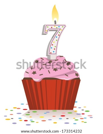 seventh birthday cupcake with lit candle in shape of number seven - stock vector