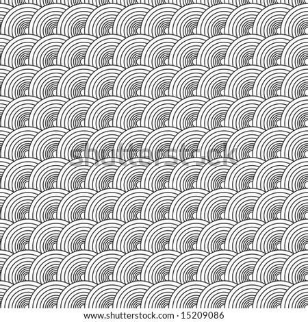 Seventies illustrated circular abstract design that seamlessly repeats - stock vector