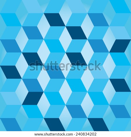 Seventies style abstract background in shades of blue with a seamless repeating design - stock vector