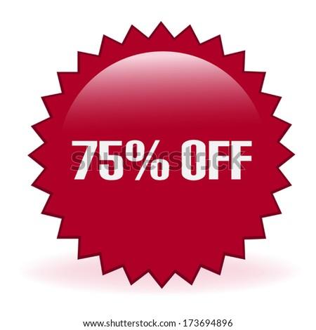 Seventy Five Percent Discount Sticker - stock vector