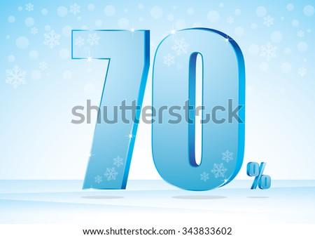 seventy percent on snow background - stock vector