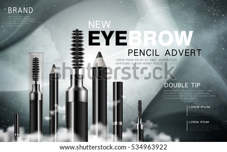 several black eyebrow pencil and mascara products, celestial background, 3d illustration