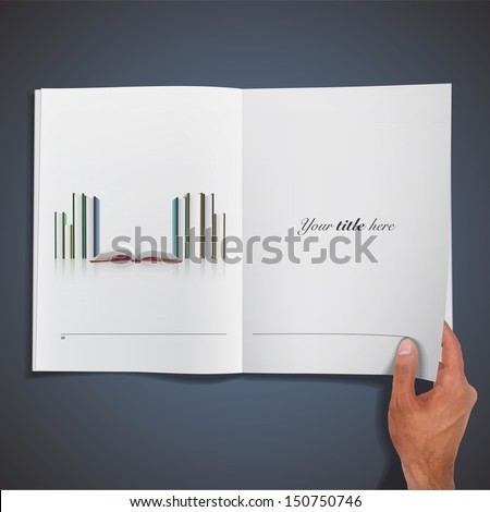 Several books printed on book. Vector design. - stock vector