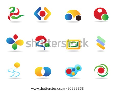 several colorful abstract geometric elements for design - stock vector
