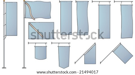 Several flags and banners ideal for design and presentation purposes - Look at the portfolio for other sets - stock vector