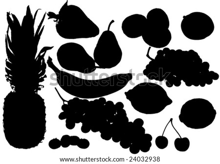 Several fruit silhouettes - stock vector