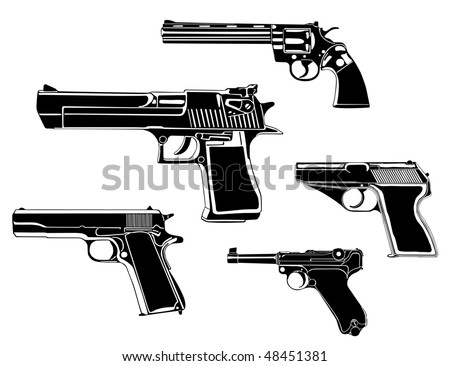 Several guns, old and modern, in the vector - stock vector