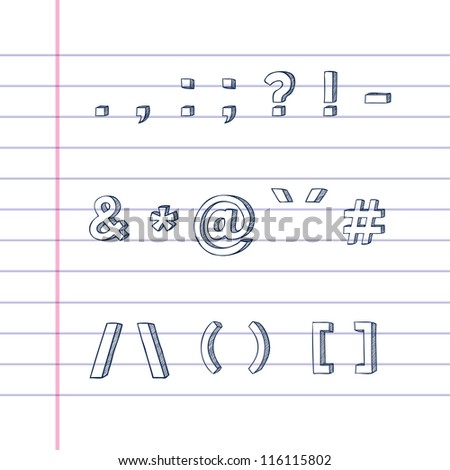 Several hand drawn text symbols on lined paper - stock vector