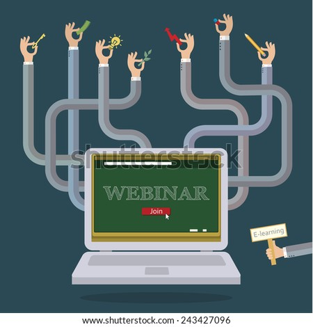 Several hands from the laptop. Concept of webinar - stock vector