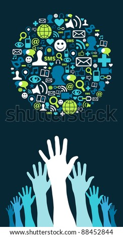 Several hands trying to reach a globe made with social media icons on blue background. Vector file available. - stock vector