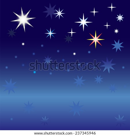 Several large bright stars and many small stars against the dark night sky - stock vector