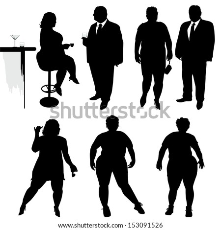 Several people are dancing. Obese people. Vector silhouettes - stock vector