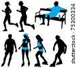 Several people in city park - vector silhouettes - stock vector