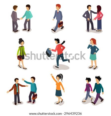 Several people Isometric 3d, Vector illustration set - stock vector
