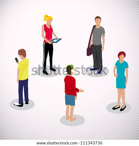 Several people Isometric, Vector illustration