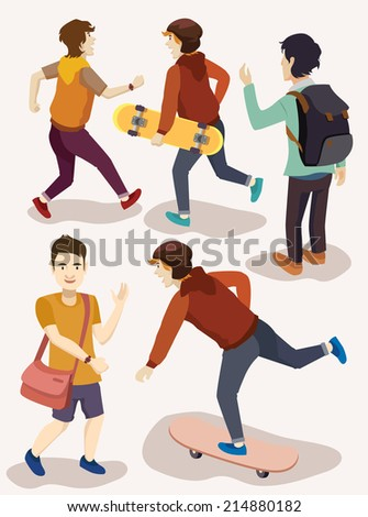 several people isometric vector set. skateboarder, students, mature, adult, embracing, guitarist - stock vector