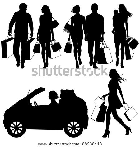 several people, shopping - vector silhouettes - stock vector