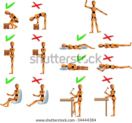 Several position to follow for the back and spine care. Woody the mannequin explains it using examples. It explains how to carry objects, drive, work and sleep in order to avoid back problems. - stock vector
