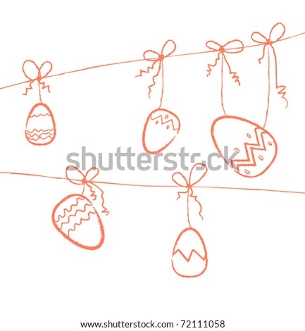 Several red eggs hanging on threads - stock vector