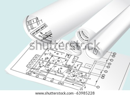 Several rolls of blueprints on an open blueprint . Vector - stock vector