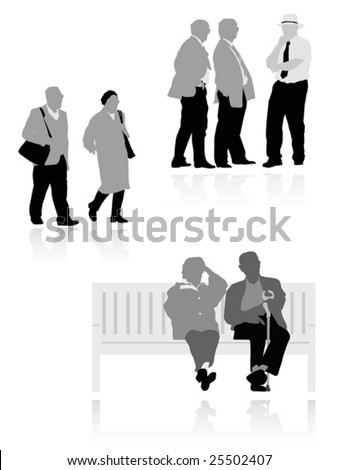 several senior  silhouettes - stock vector