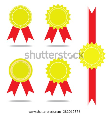 Several sets of medals and ribbons. - stock vector