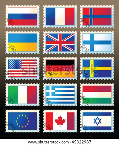 several stamps with state flags