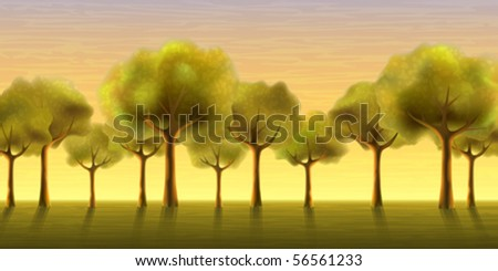 Several trees growing in a line against an evening sky background (AI-optimized EPS 8 file, other landscapes are in my gallery)