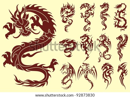 Several types of stylized dragons for tattoos - stock vector
