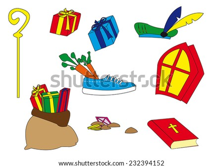 Several typical Dutch Sinterklaas attributes isolated over white background - stock vector