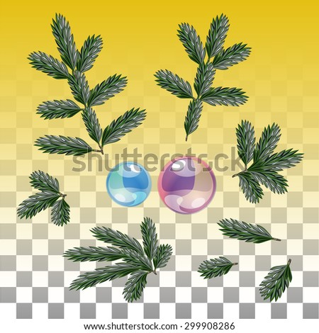 Several Vector pieces of Realistic Fir Branch and Glass Decoration isolated on a transparent background - stock vector
