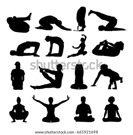 Several Yoga Poses Vector Silhouette Illustration Isolated On White Background Young Woman And Man Exercises