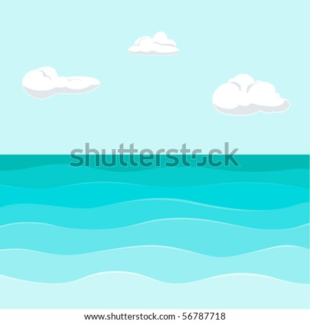 seview background with waves & clouds - stock vector